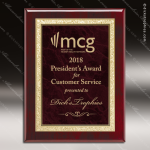 Engraved Rosewood Plaque Red Marble Plate Gold Border Wall Placard Award Marble Colored Finish Plaques