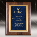 Engraved Walnut Plaque Blue Marble Plate Gold Border Award Marble Colored Finish Plaques