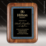 Engraved Walnut Plaque Black Plate Round Edge Border Award Marble Colored Finish Plaques