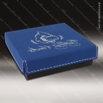 Embossed Etched Leather Medallion Box - Blue/Silver Medallion Cases & Boxes