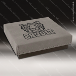 Embossed Etched Leather Medallion Box - Gray Medallion Cases & Boxes
