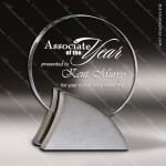 Acrylic Silver Accented Circle Swish Configuration Trophy Award Metal Accented Acrylic Awards