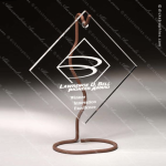Acrylic Metal Accented Wired Hanging Diamond Trophy Award Metal Accented Acrylic Awards