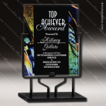 Acrylic Multi-Colored Blue Accented Art Plaque Standing Trophy Award Metal Accented Acrylic Awards