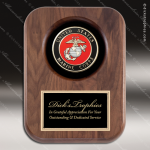 Engraved Walnut Plaque Recessed US Marines Insignia Award Military Trophy Awards