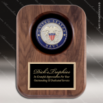 Engraved Walnut Plaque Recessed US Navy Insignia Wall Placard Award Military Trophy Awards