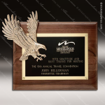 Engraved Walnut Plaque Eagle Soaring Wall Placard Award Military Trophy Awards