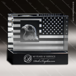 Crystal Black Accented Eagle With USA Flag Trophy Award Military Trophy Awards
