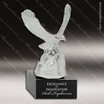 Glass Black Accented Glass Eagle Landing Sculpture Trophy Award Military Trophy Awards