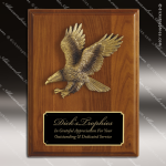 Engraved Walnut Plaque Eagle Black Plate Gold Cast Wall Placard Award Military Trophy Awards