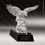 Crystal Black Accented Majestic Eagle Glass Trophy Award Military Trophy Awards