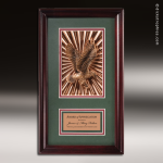 Engraved Rosewood Plaque Framed American Eagle Wall Placard Award Military Trophy Awards