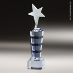 Crystal Blue Accented Based Silver Star Trophy Award MPI Crystal Awards