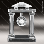Engraved Crystal  Desk Clock Silver Accented Roman Pillars Trophy Award MPI Discount Trophy Crystal Trophy Awards