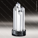 Crystal Black Accented Slant Towers Trophy Award MPI Discount Trophy Crystal Trophy Awards