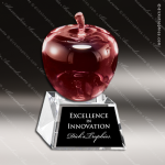 Crystal Red Accented Apple Trophy Award MPI Discount Trophy Crystal Trophy Awards
