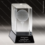 Crystal Sport Black Accented Golf Cube Trophy Award MPI Discount Trophy Crystal Trophy Awards