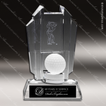 Crystal Sport Black Accented Golf Trophy Award Trophy Award MPI Discount Trophy Crystal Trophy Awards