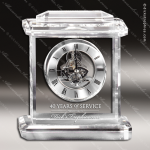 Engraved Crystal  Desk Clock Silver Accented Skeleton Movement Trophy Award MPI Discount Trophy Crystal Trophy Awards