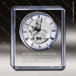 Engraved Crystal Desk Clock Blue Accented Rectangle Award MPI Discount Trophy Crystal Trophy Awards