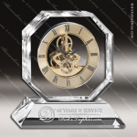 Engraved Crystal  Desk Clock Gold Accented Skeleton Movement Trophy Award MPI Discount Trophy Crystal Trophy Awards