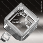 Crystal  Cube Paperweight Trophy Award MPI Discount Trophy Crystal Trophy Awards