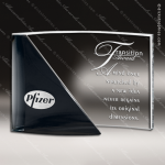 Crystal Black Accented Rectangle Curve Trophy Award MPI Discount Trophy Crystal Trophy Awards