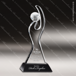 Crystal Black Accented Globe in Hand Trophy Award MPI Discount Trophy Crystal Trophy Awards