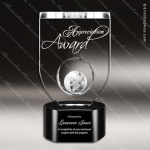Crystal Black Accented Globe Trophy Award MPI Discount Trophy Crystal Trophy Awards