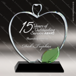 Crystal Black Accented Green Leaf Apple Trophy Award MPI Discount Trophy Crystal Trophy Awards