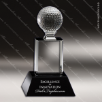Crystal Sport Black Accented Golf Ball Tower Trophy Award MPI Discount Trophy Crystal Trophy Awards