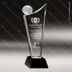 Crystal Sport Black Accented Golf Trophy Award MPI Discount Trophy Crystal Trophy Awards