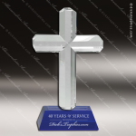 Crystal Blue Accented Religious Cross Trophy Award MPI Discount Trophy Crystal Trophy Awards