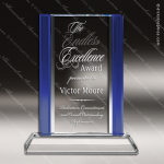 Crystal Blue Accented Rectangle Trophy Award MPI Discount Trophy Crystal Trophy Awards