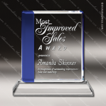Crystal Blue Accented Square Trophy Award MPI Discount Trophy Crystal Trophy Awards
