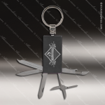 Laser Engraved Keychain Pocket Knife Multi-Tool 6 Function Black Gift Award Multi-Tool & Knife Keychains