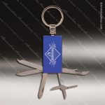 Laser Engraved Keychain Pocket Knife Multi-Tool 6 Function Blue Gift Award Multi-Tool & Knife Keychains
