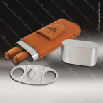 Embossed Etched Leather Cigar Case with Cutter -Rawhide Natural Rawhide Leather Items