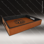 Embossed Etched Leather Serving Tray -Rawhide Natural Rawhide Leather Items