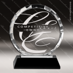Crystal Black Accented Round Circle Trophy Award Octagon Shaped Crystal Awards