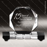 Crystal Black Accented Octagon Trophy Award Octagon Shaped Crystal Awards