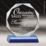 Crystal Blue Accented Octagon Trophy Award Octagon Shaped Crystal Awards