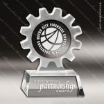 Crystal  Gear Working Together Trophy Award Octagon Shaped Crystal Awards