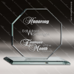 Tomaski Octagon Glass Jade Accented Octagon Trophy Award Octogan Shaped Glass Awards