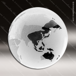 Crystal  Clear Frosted Ocean World Globe Paperweight Trophy Award Paperweight Crystal Awards