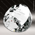 Crystal  Clear Duet Round Paperweight Trophy Award Paperweight Crystal Awards