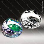 Crystal Green Accented Gem-Cut Round Paperweight Trophy Award Paperweight Crystal Awards