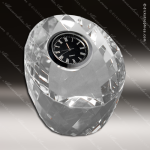 Engraved Crystal  Desk Clock Silver Accented Faceted Paperweight Trophy Awa Paperweight Crystal Awards