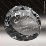 Crystal  Round Diamond Cut Paperweight Trophy Award Paperweight Crystal Awards