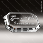 Crystal  Clear Clipped Corner Rectangle Paperweight Trophy Award Paperweight Crystal Awards